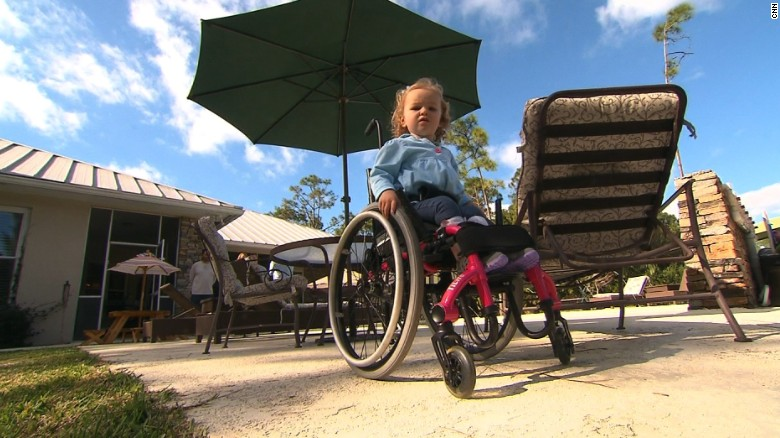 Layla McCarthy lost the use of her legs as a result of surgery she underwent at St. Mary's when she was 7 weeks old.
